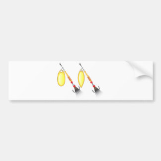 Golden leaf and oval shape design spinner fishing bumper sticker