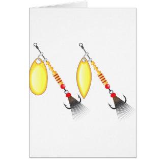 Golden leaf and oval shape design spinner fishing card