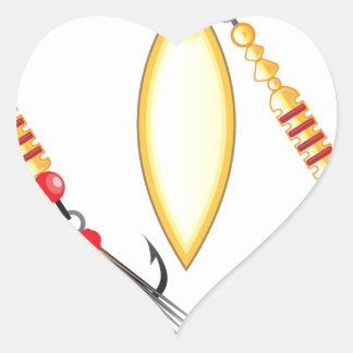 Golden leaf and oval shape design spinner fishing heart sticker
