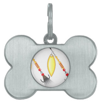 Golden leaf and oval shape design spinner fishing pet ID tag