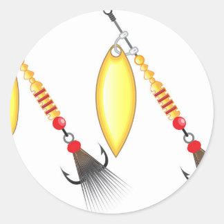 Golden leaf and oval shape design spinner fishing round sticker