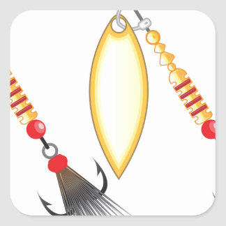 Golden leaf and oval shape design spinner fishing square sticker