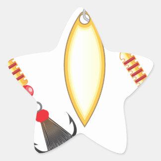 Golden leaf and oval shape design spinner fishing star sticker