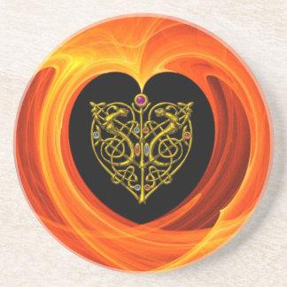 GOLDEN LEAF,  black orange yellow Drink Coasters