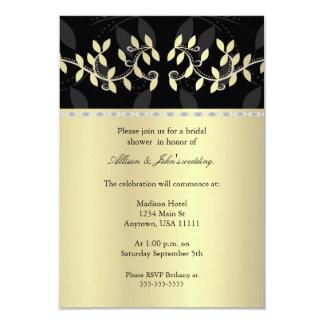 "Golden Leaf Border Bridal Shower Invitation 3.5"" X 5"" Invitation Card"