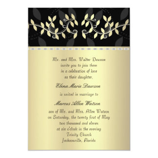 Golden Leaf Border Wedding Invitation