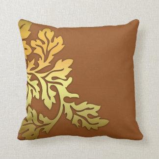 golden leaf brown pillow design