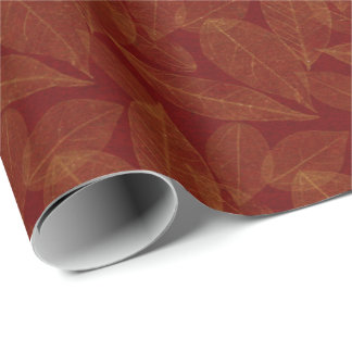 Golden Leaf Crimson Maroon Burgundy Botanical Wrapping Paper