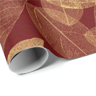 Golden Leaf Crimson Maroon Burgundy Luxury Wrapping Paper