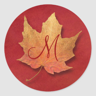 Golden Leaf Customizable Monogram Classic Round Sticker