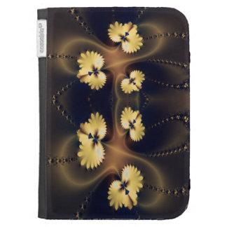 Golden Leaf Fractal Kindle Keyboard Cases