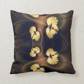 Golden Leaf Fractal Throw Pillow