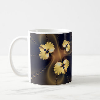 Golden Leaf Fractal Coffee Mugs