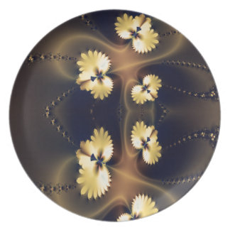 Golden Leaf Fractal Dinner Plates