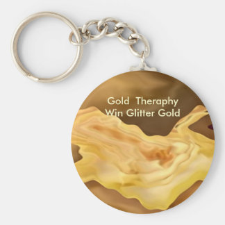 Golden Leaf -  Gold Color Therapy Art Basic Round Button Key Ring