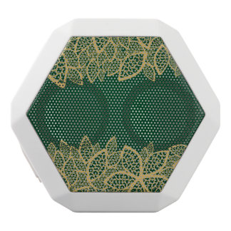 Golden leaf lace on green background white boombot rex bluetooth speaker