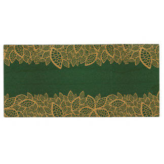 Golden leaf lace on green background wood USB 2.0 flash drive