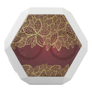 Golden leaf lace on red background white boombot rex bluetooth speaker