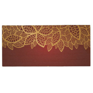 Golden leaf lace on red background wood USB 2.0 flash drive