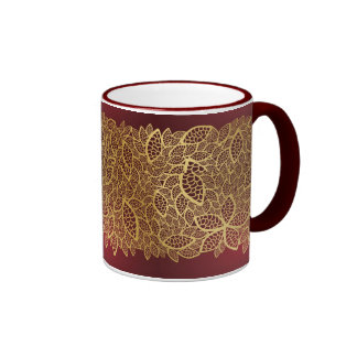 Golden leaf lace on red background coffee mugs
