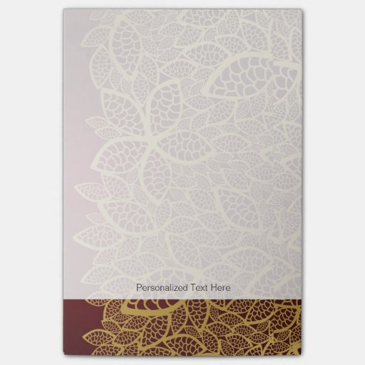 Golden leaf lace on red background post-it® notes