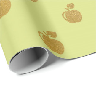 Golden Leaf Metallic Apple Fruits Mint Green Paste Wrapping Paper