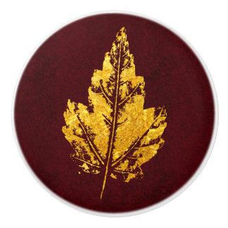 Golden Leaf on Burgundy - cabinet knob
