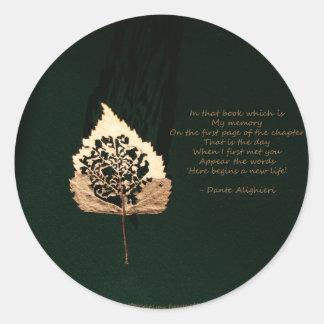 Golden Leaf Round Sticker
