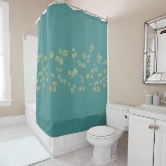 Golden Leaf Shower Curtain in Teal