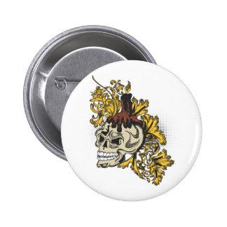 Golden leaf skull pinback buttons