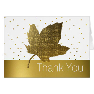 Golden Leaf Thank You Note Card