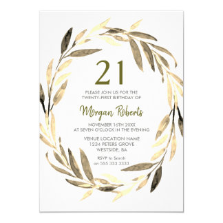 Golden Leaf Wreath 21st Birthday Party Invitation
