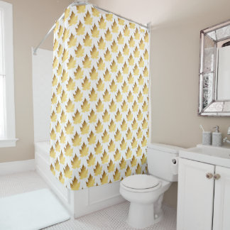 Golden Leafs Marble Vip Shower Curtain