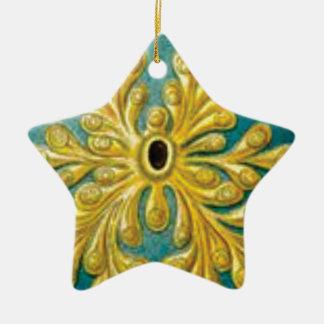 golden leaves cover ceramic ornament