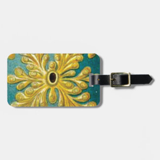 golden leaves cover luggage tag