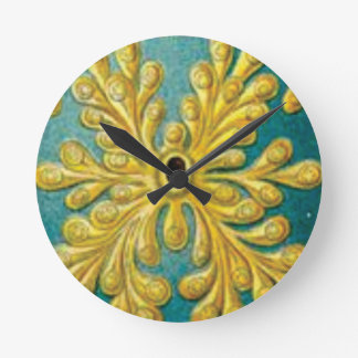 golden leaves cover round clock