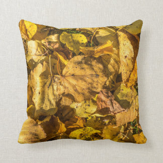 Golden leaves in autumn throw cushion