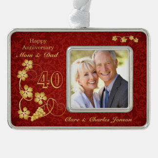 Golden leaves on red 40th Wedding Anniversary Silver Plated Framed Ornament