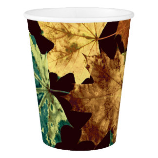 Golden Leaves Paper Cup