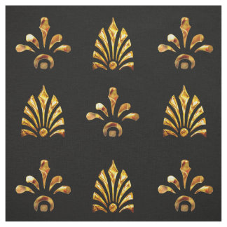 Golden Leaves Pattern With Black Background Fabric