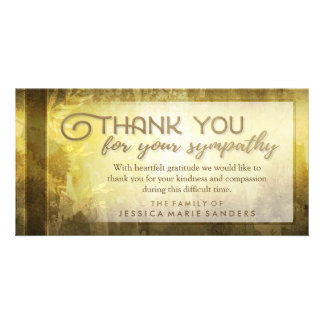 Golden Leaves Thank You Custom Sympathy Card Photo Greeting Card