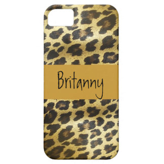 Golden Leopard Fur Animal Print with Name iPhone 5 Cover