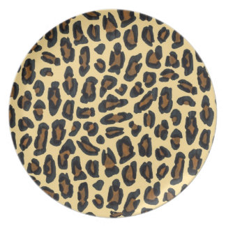 Golden Leopard Fur Print Plate