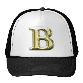 Golden Letter B Shiny Alphabet Cap