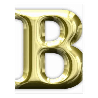 Golden Letter B Shiny Alphabet Postcard