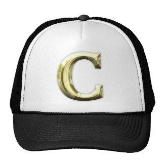 Golden Letter C Shiny Gold Alphabet Cap