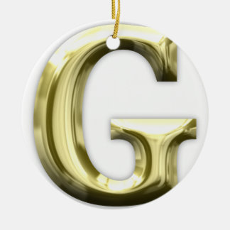 Golden Letter G Shiny Gold Alphabet Ceramic Ornament