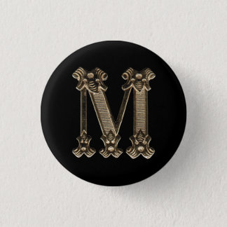 Golden Letter M Initial or Monogram Button