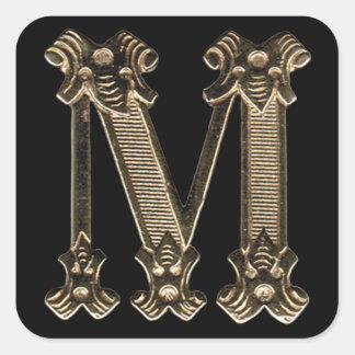 Golden Letter M Initial or Monogram on Black Square Sticker