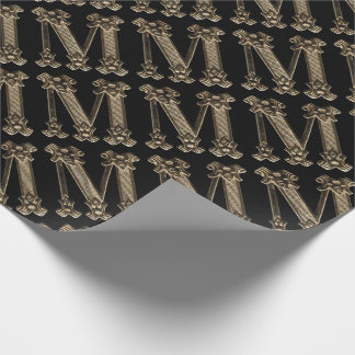 Golden Letter M Initial or Monogram on Black Wrapping Paper